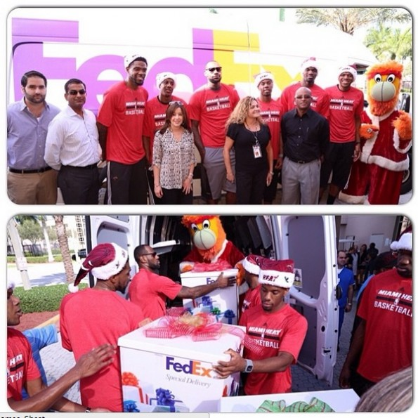fed ex-lebron james-miami heat-deliver christmas gifts-visit hospital 2013-the jasmine brand