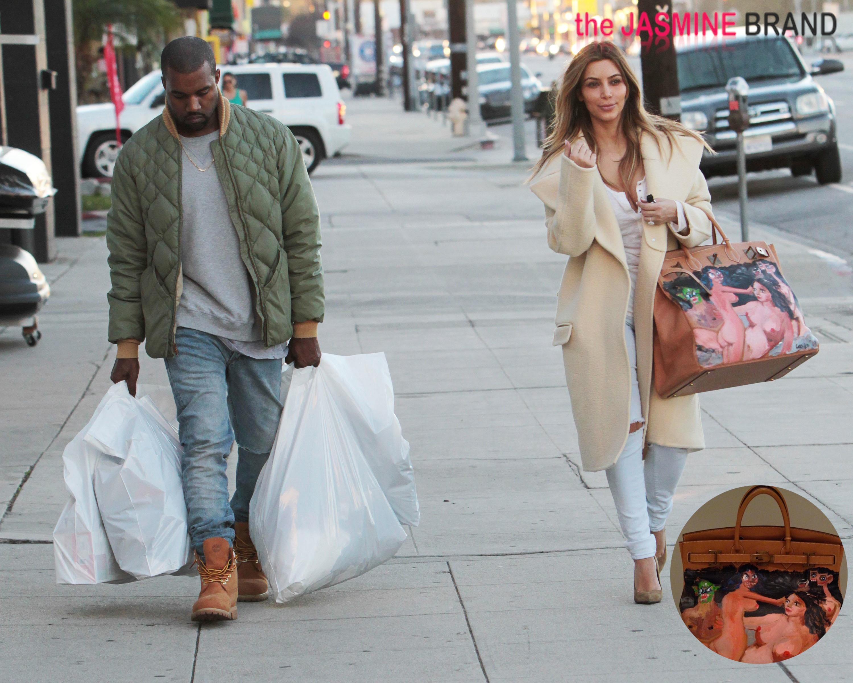 Kim Kardashian Gets Painted Naked Hermes Bag From Kanye