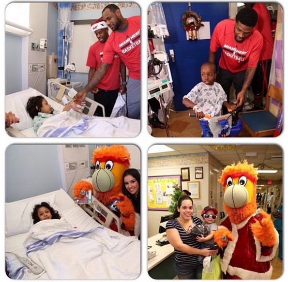 lebron james-miami heat-deliver christmas gifts-visit hospital 2013-the jasmine brand