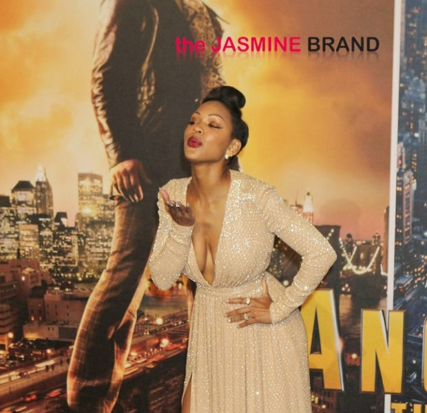 Meagan Good Serves Cleavage & Air Kisses At 'Anchorman 2' Premiere
