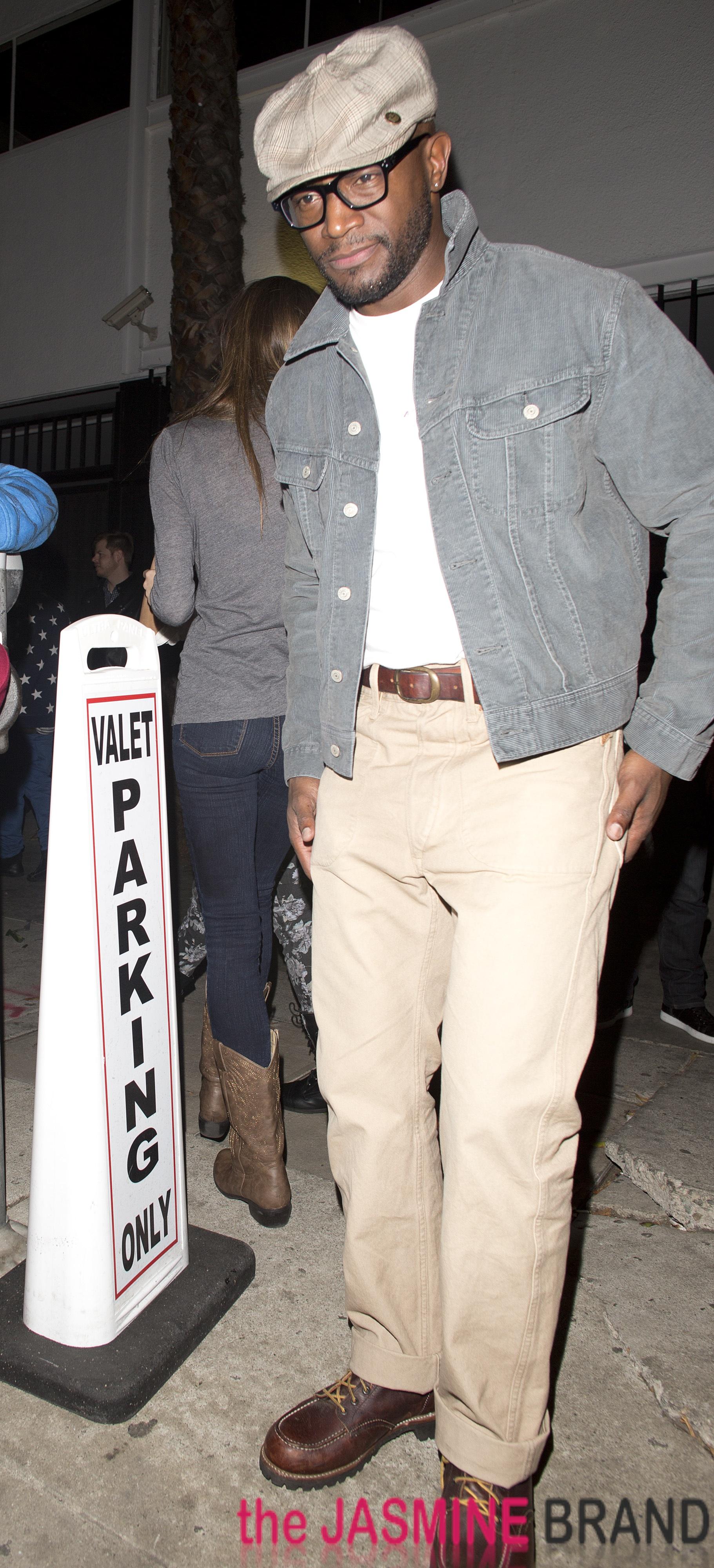 Taye Diggs leaves a Hollywood night club called AV