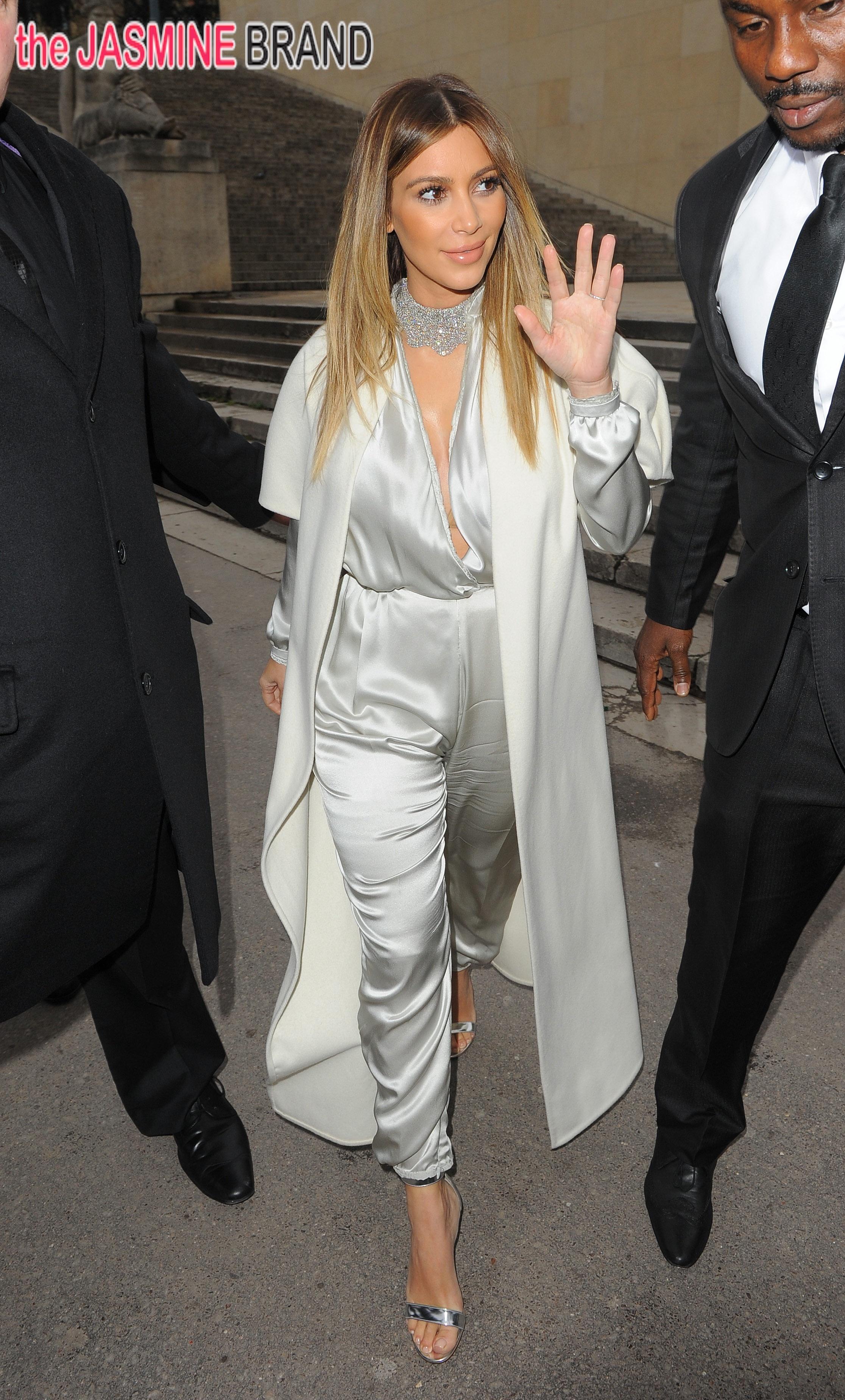 Kim Kardashian and Kanye West leaving Le Maurice Hotel