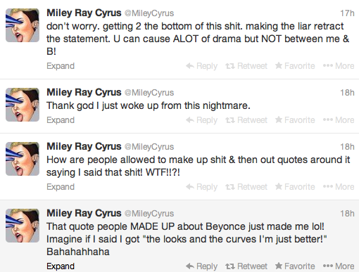 Miley-Cyrus-Denies-Dissing-Beyonce-Tweets-The Jasmine Brand