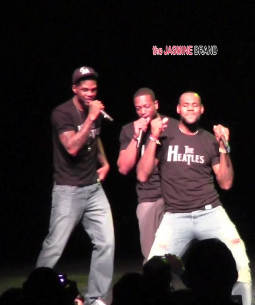 Miami Heat's Lebron James,Dwyane Wade Udonis Haslem re createw Beatle mania wearing The Heatles T shirts at Batioke charity event in South Beach