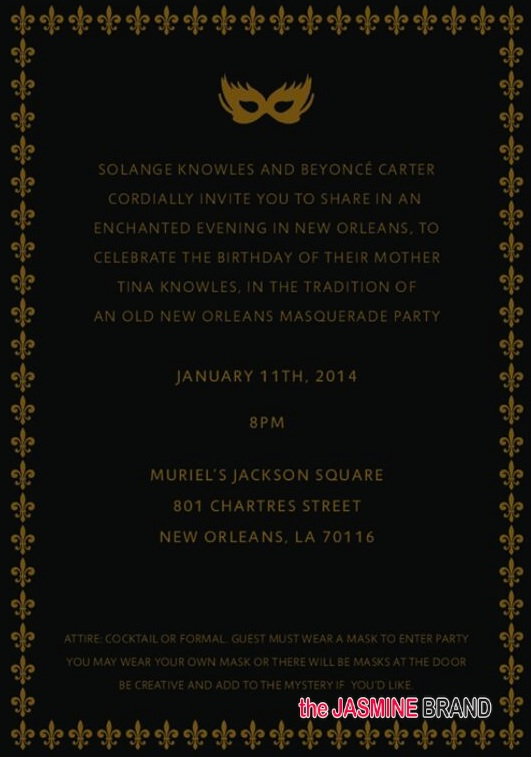 invitation-tina knowles-60th birthday party-masquerade ball-the jasmine brand