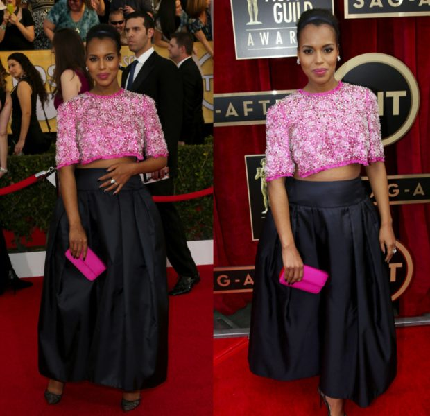 Edgy or Unattractive: Kerry Washington Wears Belly Exposed Prada Two Piece At SAG Awards