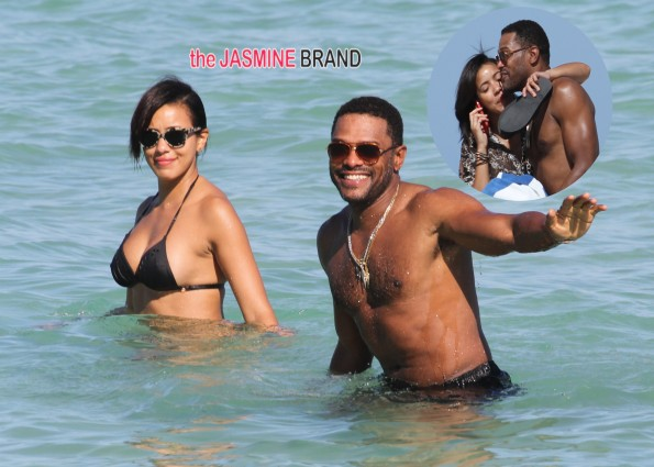 Maxwell and Julissa Bermudez out and about on the beach in Miami Beach
