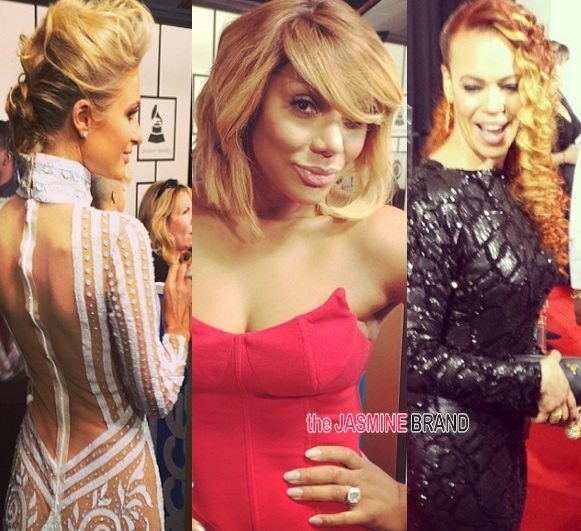 paris hilton-tamar braxton-faith evans-grammy awards 2014-the jasmine brand