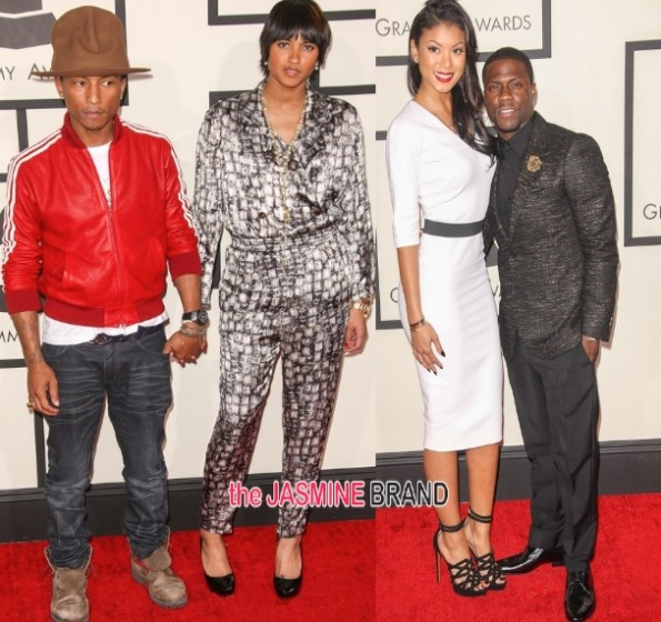 pharrell and wife helen-kevin hart girlfriend eniko parish-grammy awards 2014-the jasmine brand