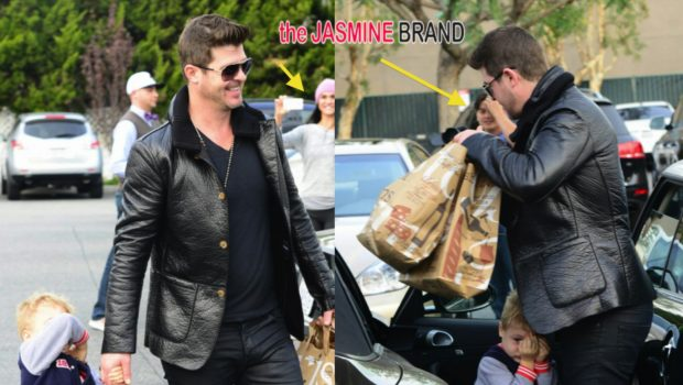 Robin Thicke's Son Hides From Paparazzi & Fans