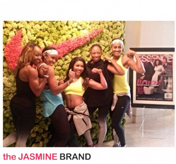 group shot-kelly rowland-skylar diggins-essence red carpet-move more-world fit for kids 2014-the jasmine brand