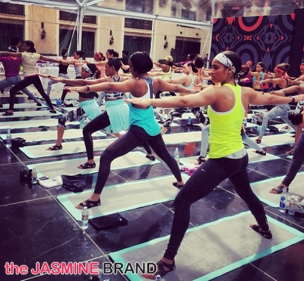 group yoga-kelly rowland-skylar diggins-essence red carpet-move more-world fit for kids 2014-the jasmine brand