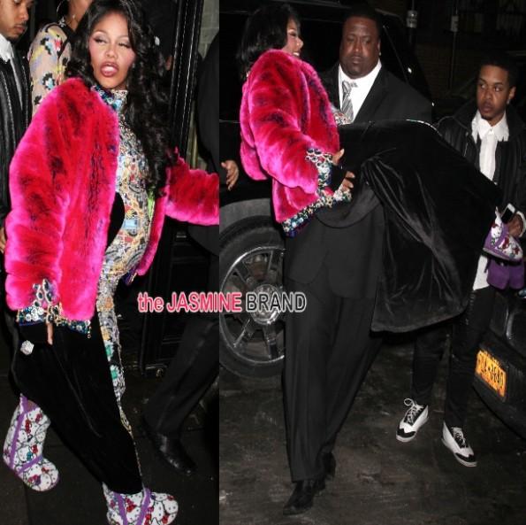 lil kim-pregnant-escorted-new york fashion week 2014-the jasmine brand