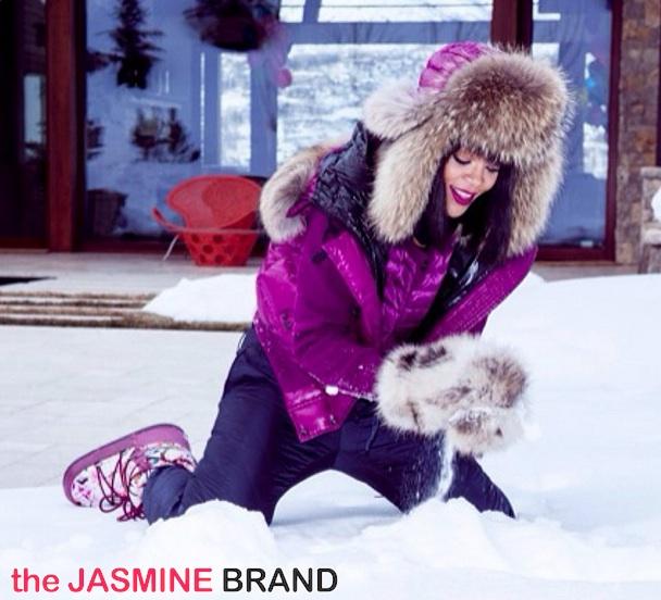 [Photos] Rihanna Spends Birthday Snuggled Up In Snowy Aspen