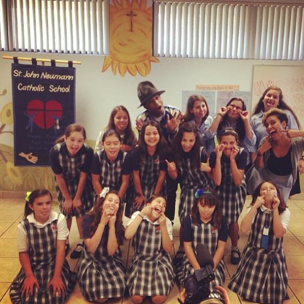 Pharrell Visits Kids In Miami-The Jasmine Brand