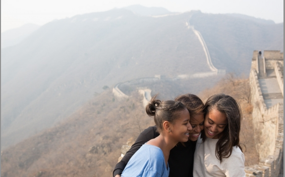 First Lady Michelle Obama Takes Sasha & Malia to Great Wall of China