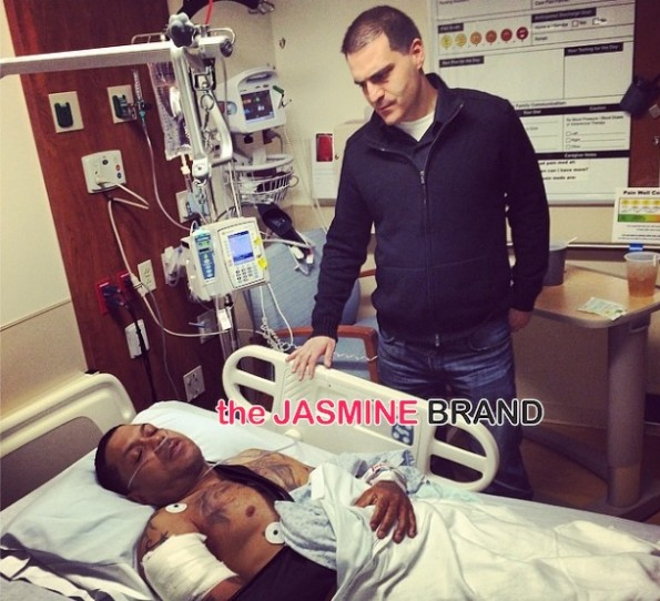 dave mays-visits benzino-hosptial post shooting at mothers funeral-the jasmine brand