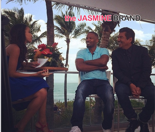 jamie foxx daughter-corinne foxx-ET TV gig-interviews rio 2 cast-george lopez-the jasmine brand