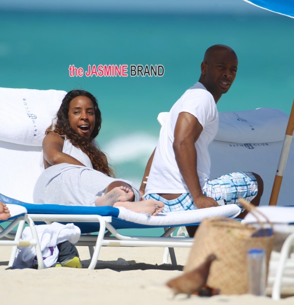 Kelly Rowland and fiance Tim Witherspoon at the beach in Miami