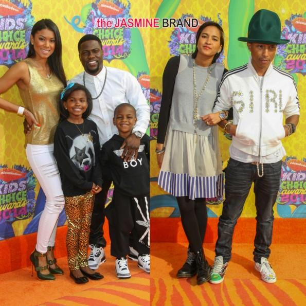 kevin hart-eniko parish-children-pharrell williams-wife helen-nickelodeon annual kids choice awards 2014-the jasmine brand