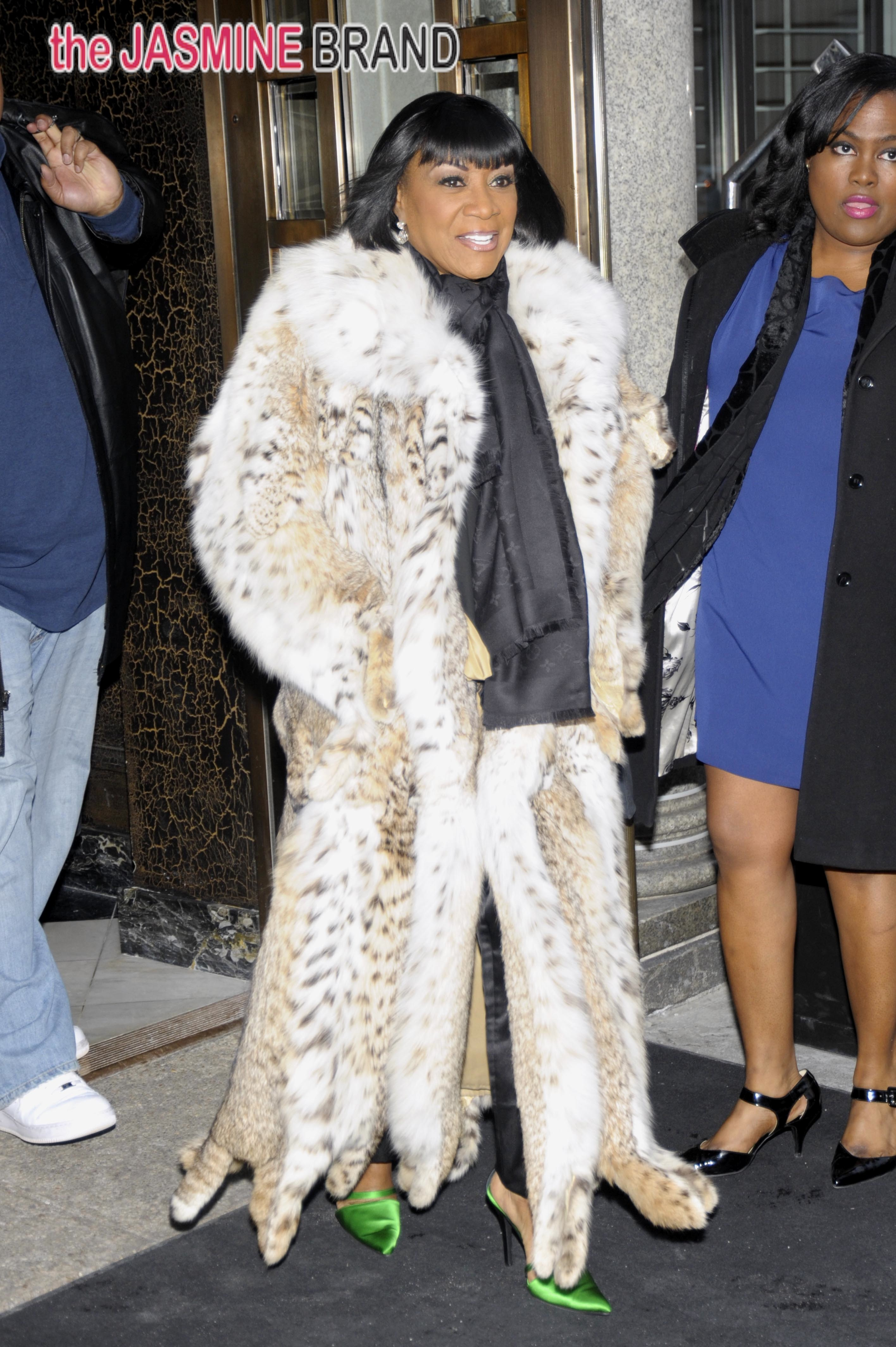Patti LaBelle braves the frighting cold in printed fur in Washington DC