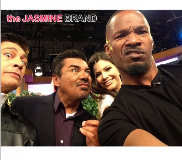 selfie-jamie foxx-george lopez-eva longoria-rio 2 premiere-miami-after party concert-the jasmine brand