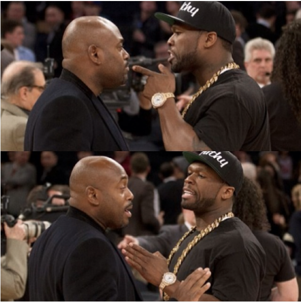 steve stoute-50 cent-yelling match at knicks game-the jasmine brand