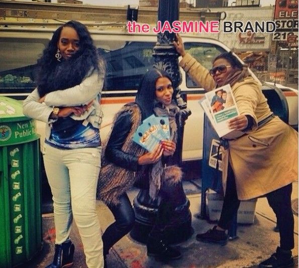 yandy smith-jennifer williams-tionna smalls pose-the affordable care act-get covered tour-nyc 2014-the jasmine brand