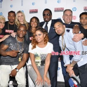 (Front) The Breakfast Club - Charlamagne Tha God, Angela Yee, DJ Envy_ (Rear) Sharon Carpenter, Sibley, DJ Damage, Paige Miller, Val Boreland, Diddy, Andy Schuon, Amrit Singh, Lawrence Jackson