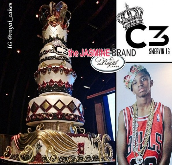birthday cake-diddy-throws swervin 16th-birthday party-son christian combs-the jasmine brand