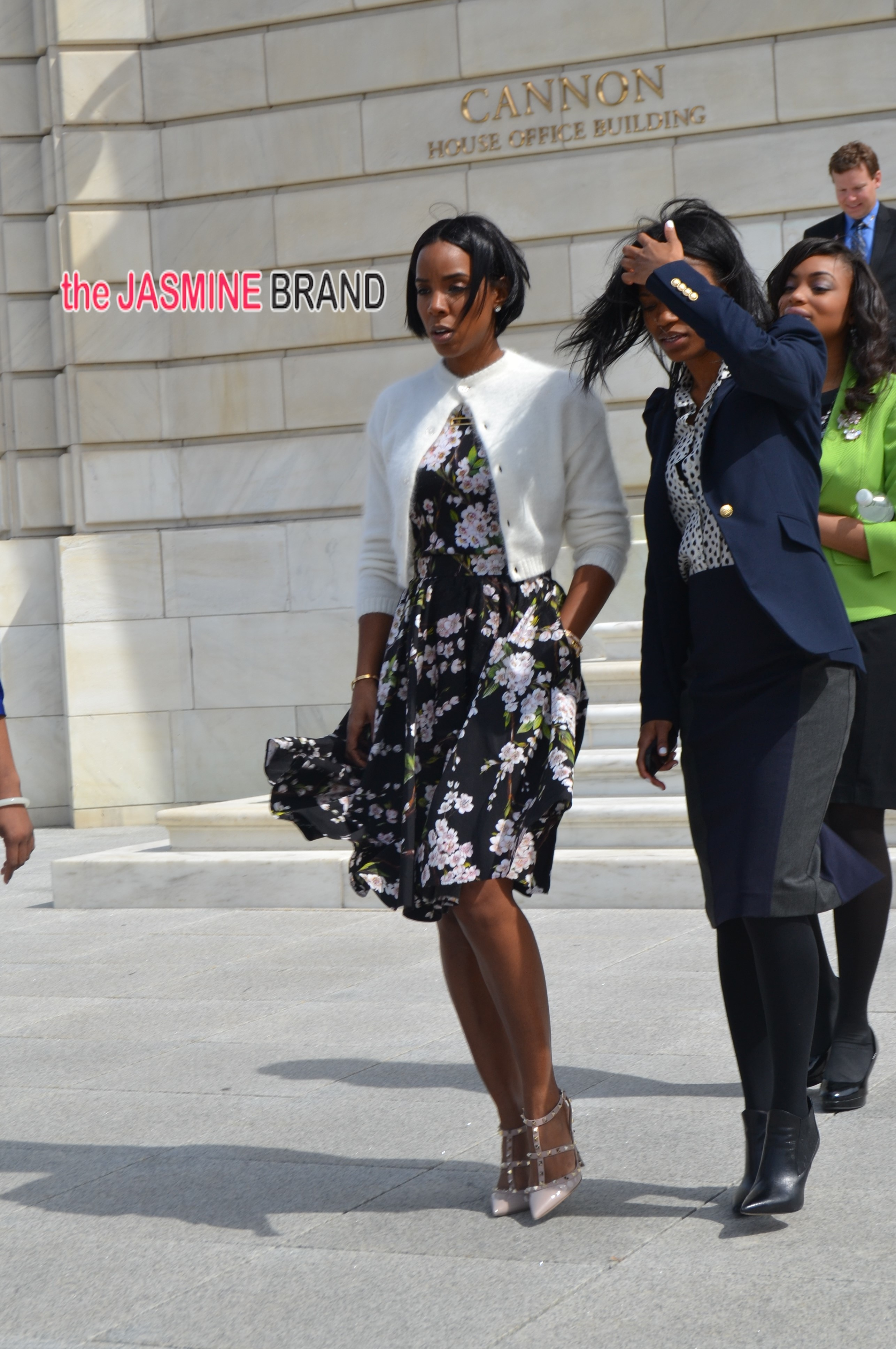 Kelly Rowland wearing her spring best on Capitol Hill in Washington, DC