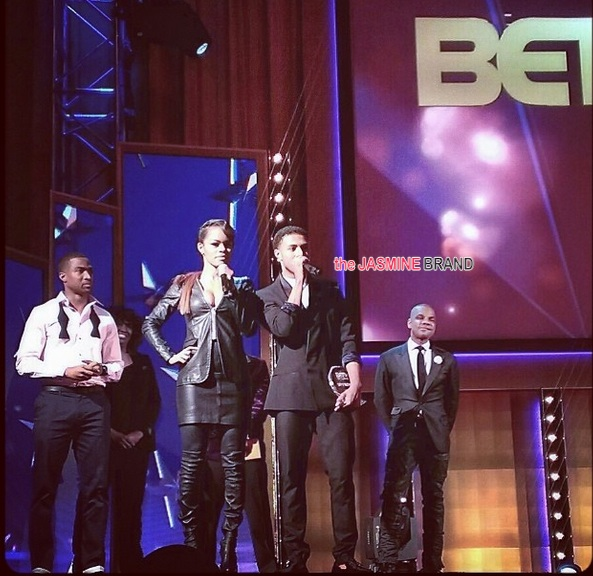 kirk franklin-diggy simmons-teyana taylor-BET Upfront 2014-the jasmine brand