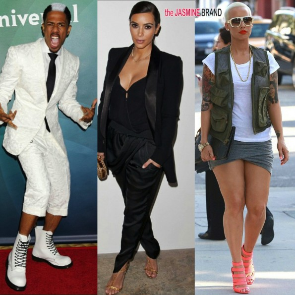 nick cannon-skunk hair-kim kardashian-amber rose street style 2014-the jasmine brand
