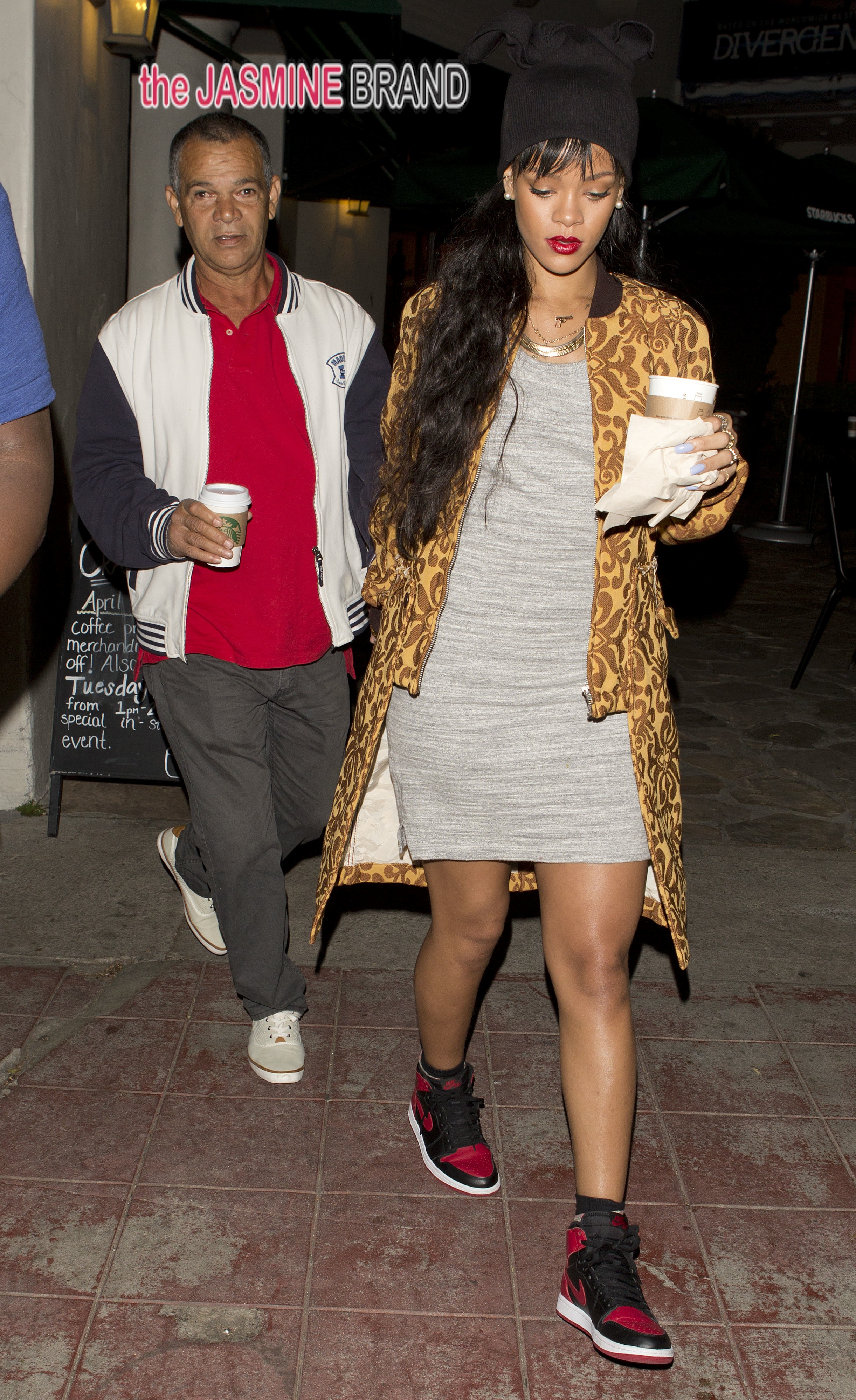 Rihanna and her father Ronald Fenty spent time together over dinner at Giorgio Baldi Restaurant and then went top starbucks in Westwood, CA
