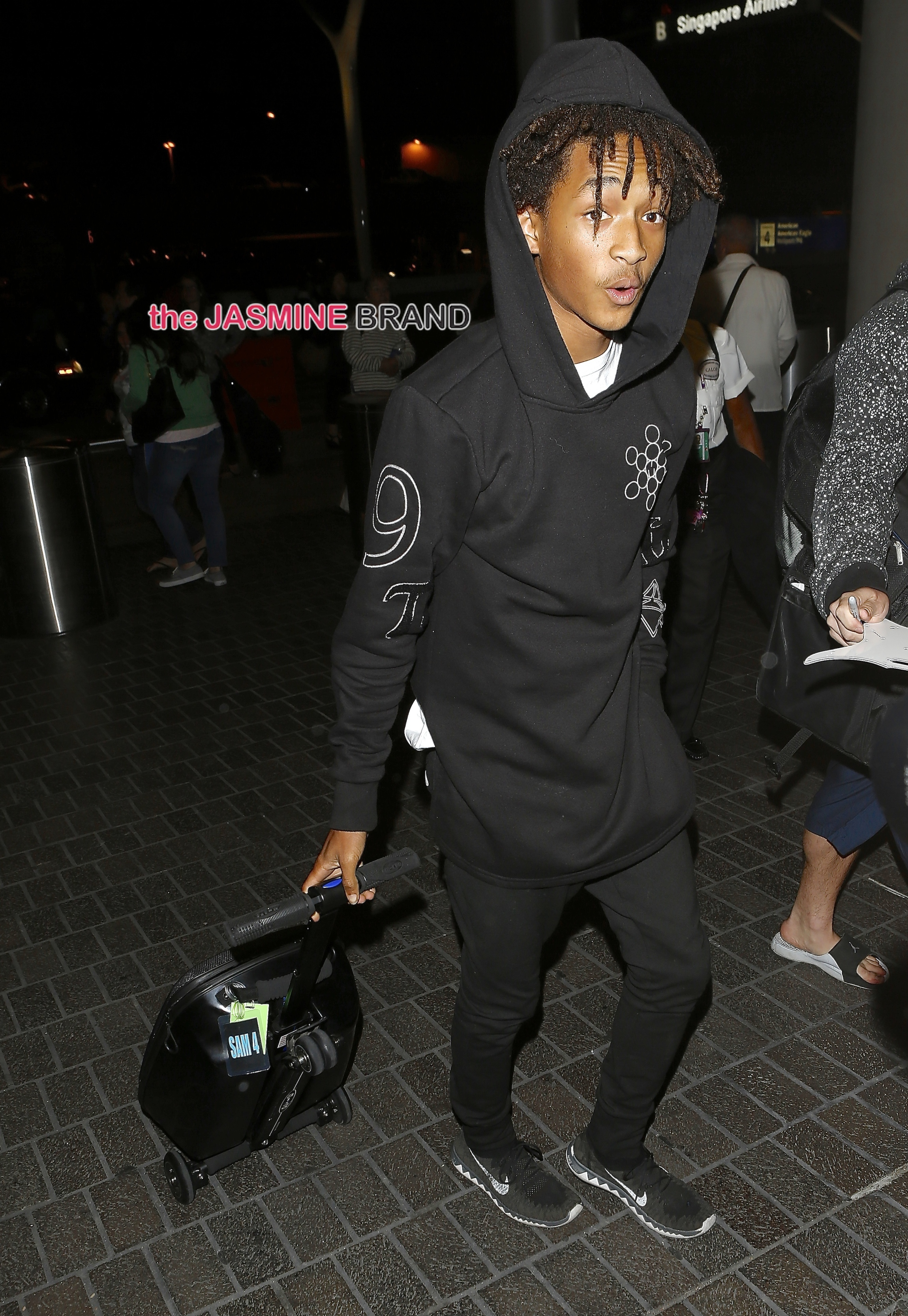 Jaden Smith was seen departing on a flight at LAX