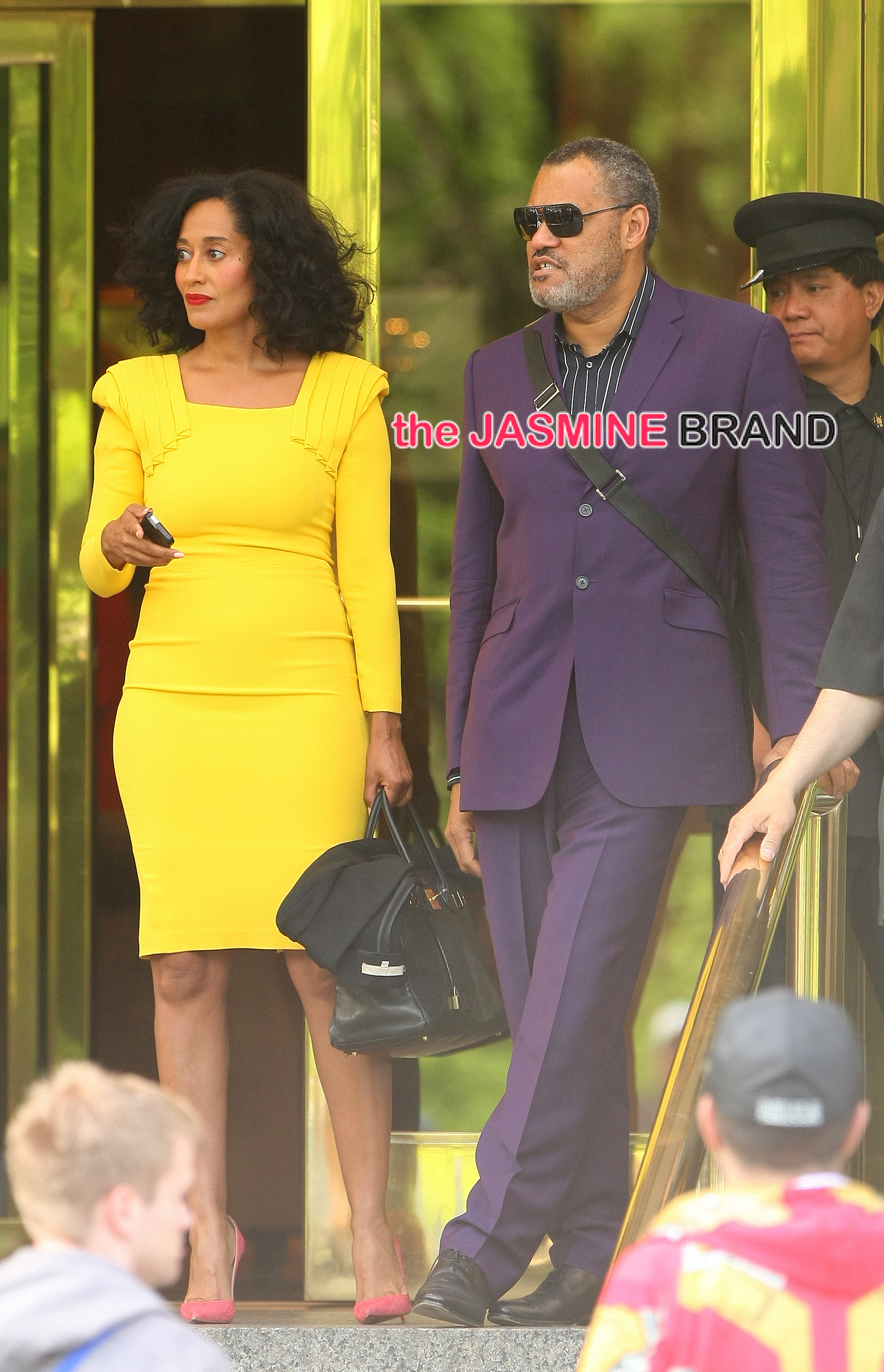 Tracee Ellis Ross and Lawrence Fishburne leaving their hotel in NYC