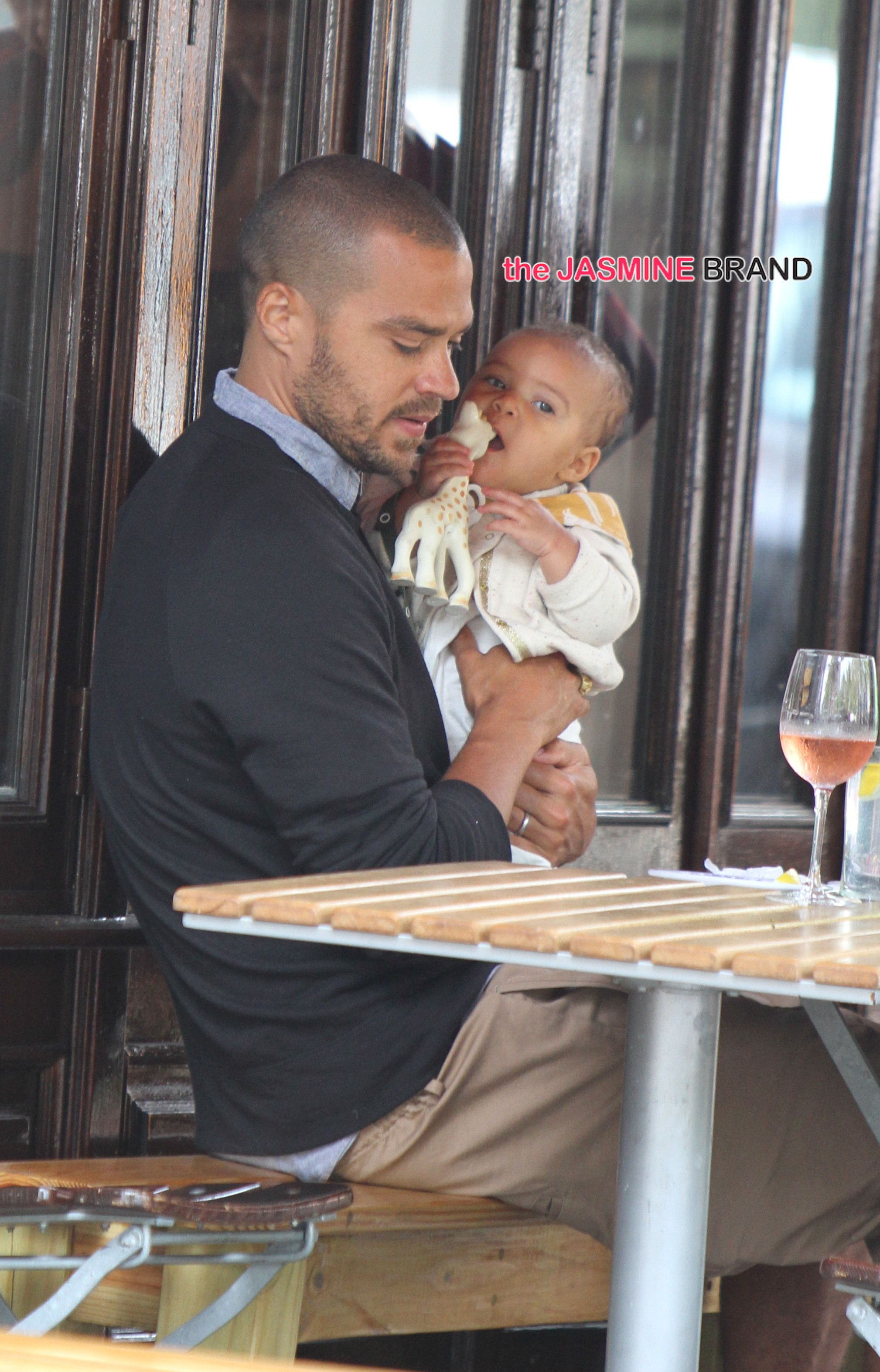 Jesse Williams and his wife out and about with their new born daughter in NYC