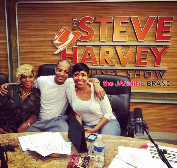 rapper ti and mary j blige visit the steve harvey morning show the jasmine brand