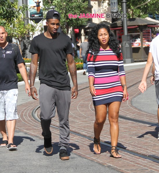 Brandon Jennings and Lashontae Heckard go shopping at the Grove in Hollywood