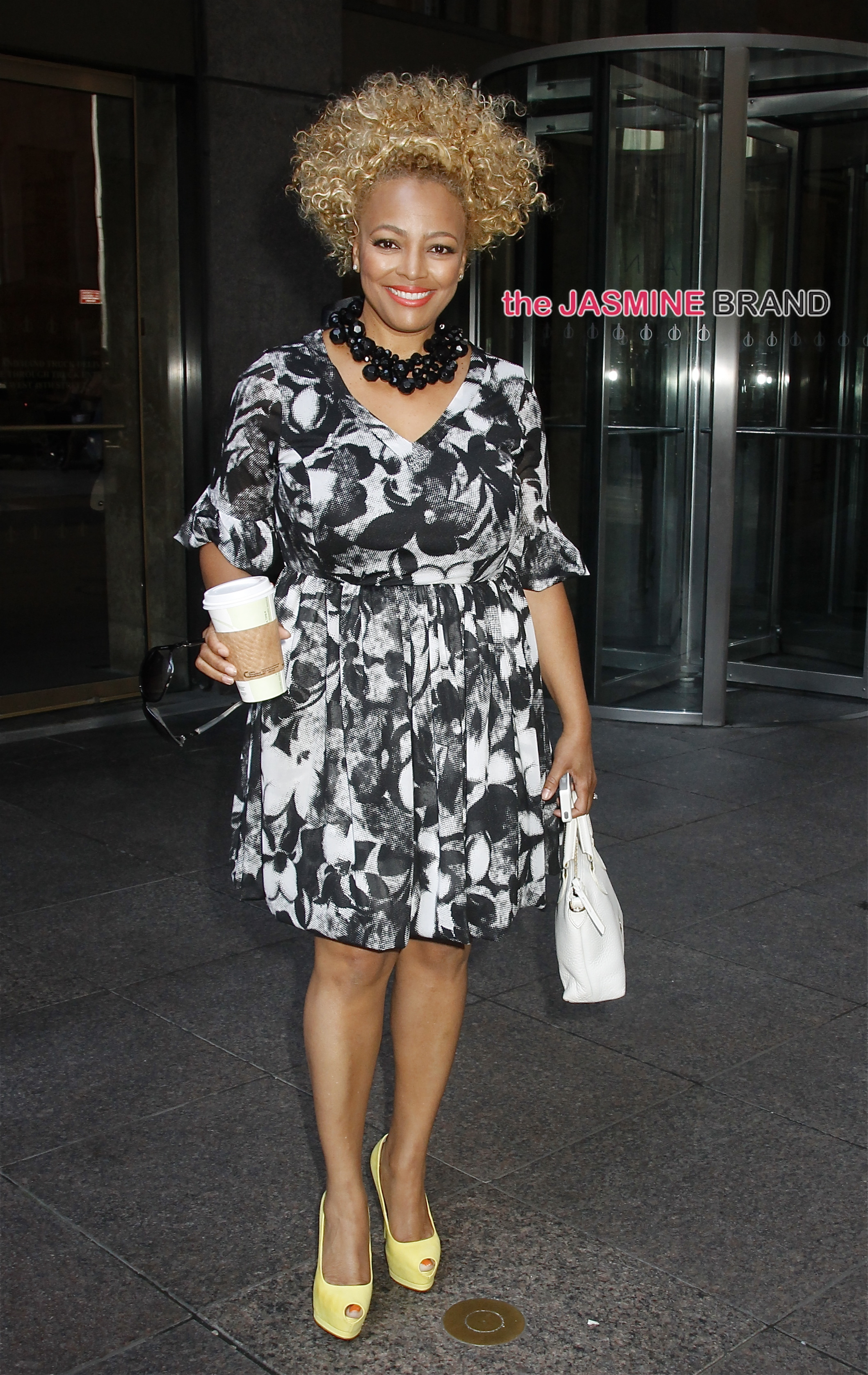 'Facts of Life' star, Kim Fields, looking beautiful in a black and white dress as she leaves Sirius XM studios in NYC