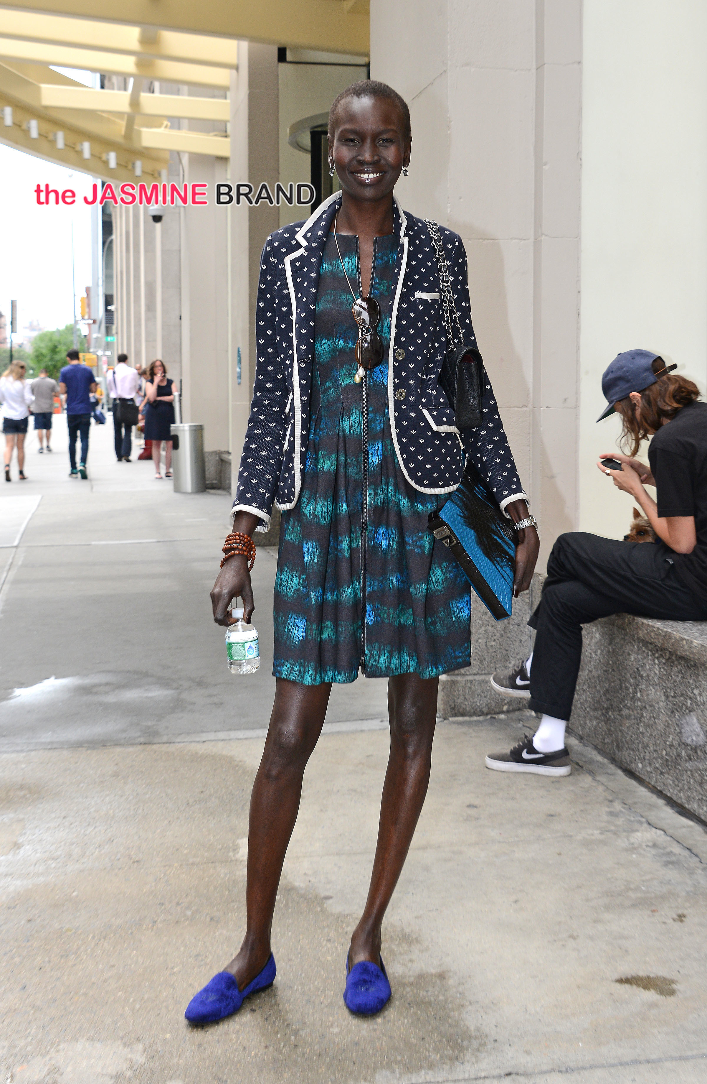 Alek Wek leaves an office building in New York