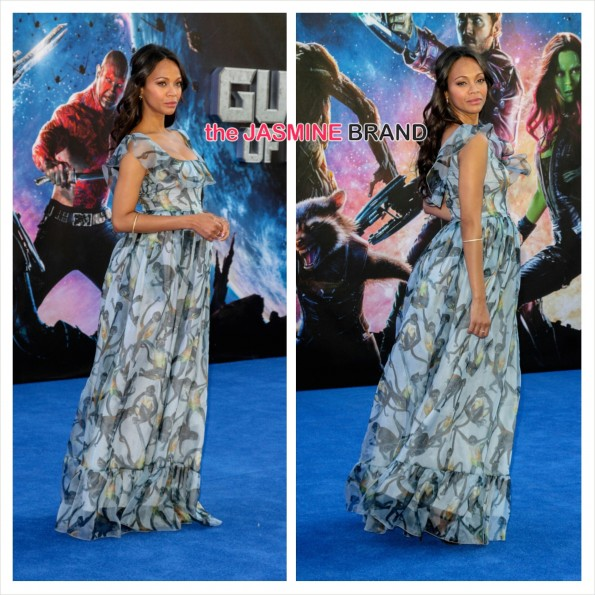 guardians of the galaxy-zoe saldana pregnat red carpet with twins the jasmine brand