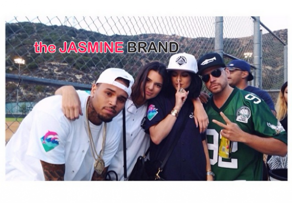 kendall jenner and kylie jenner chris brown-hosts celebrity kick ball charity event 2014 the jasmine brand