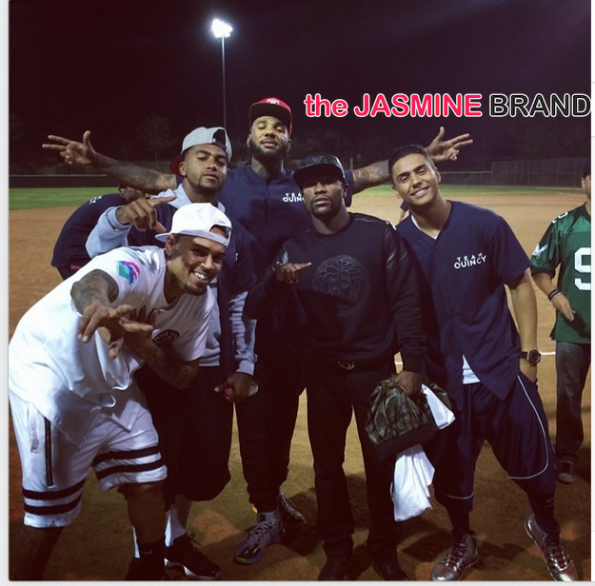 the game-desean jackson-floyd mayweather chris brown-hosts celebrity kick ball charity event 2014 the jasmine brand
