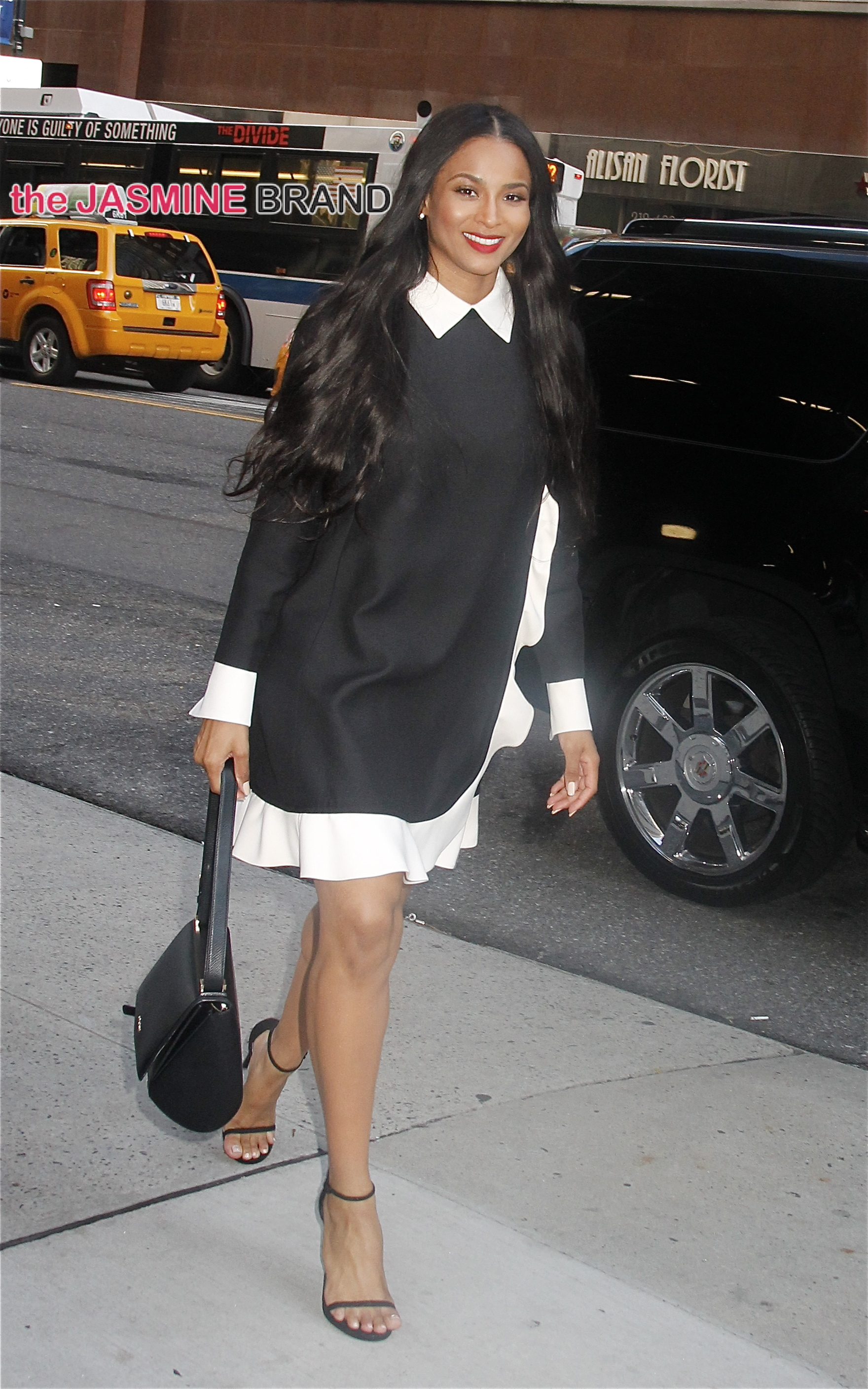 Looking beautiful in black and white dress, new mom Ciara, spotted in NYC's midtown Manhattan