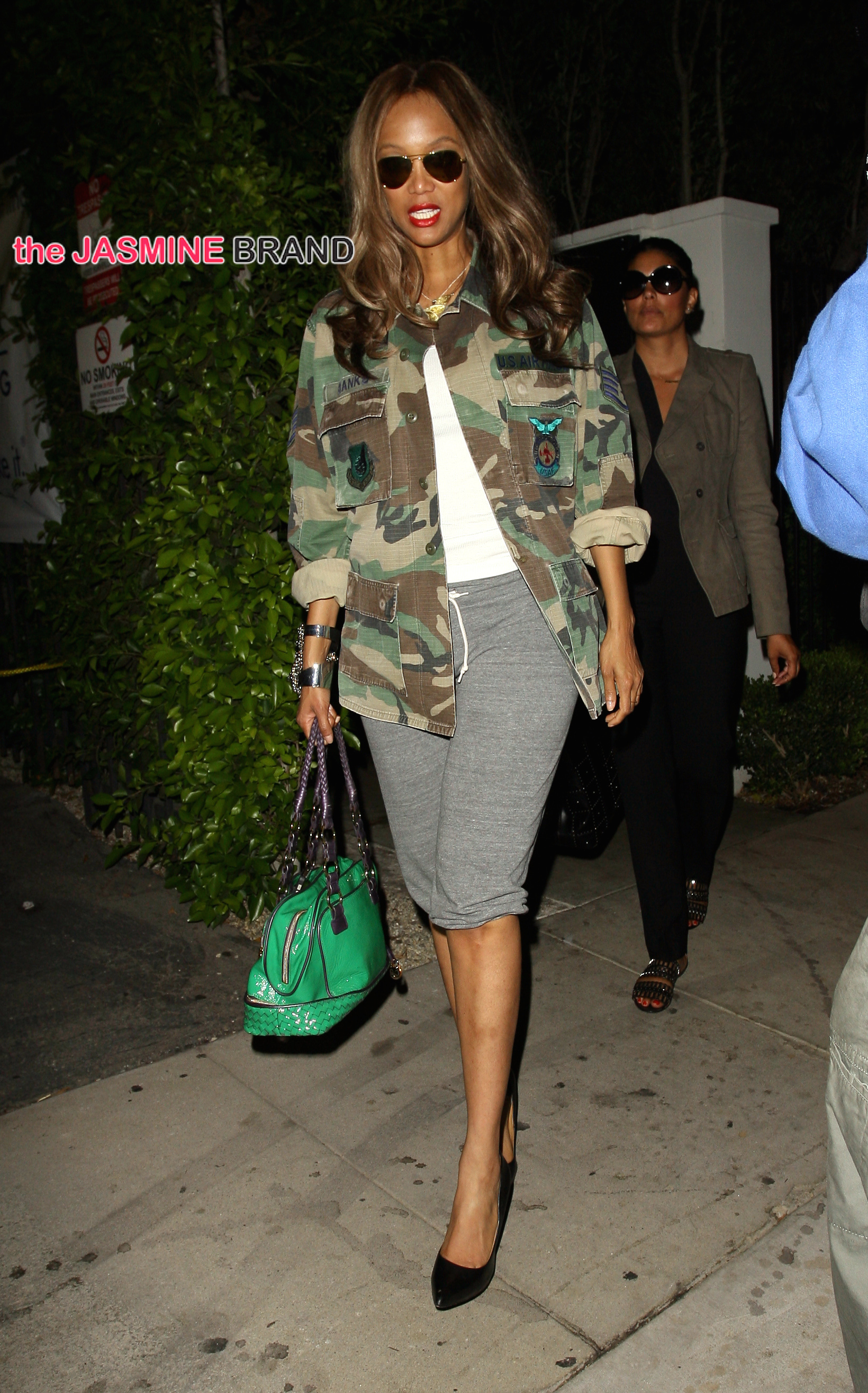 Former model Tyra Banks dine out with a friend at Gracias Madre Mexican restaurant in West Hollywood, CA