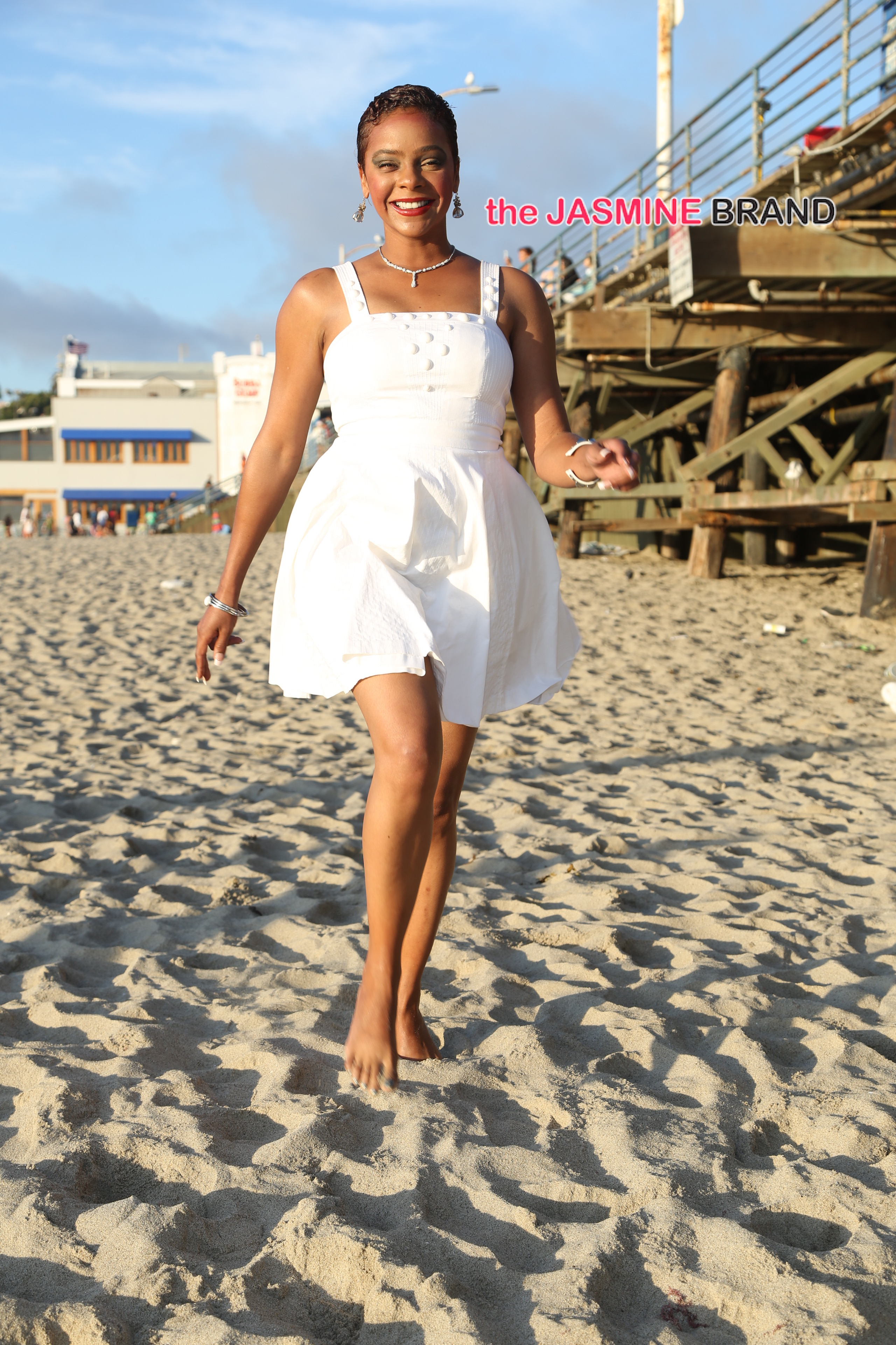 Lark Voorhies from 'Saved By The Bell' on the beach near Santa Monica Pier in Santa Monica