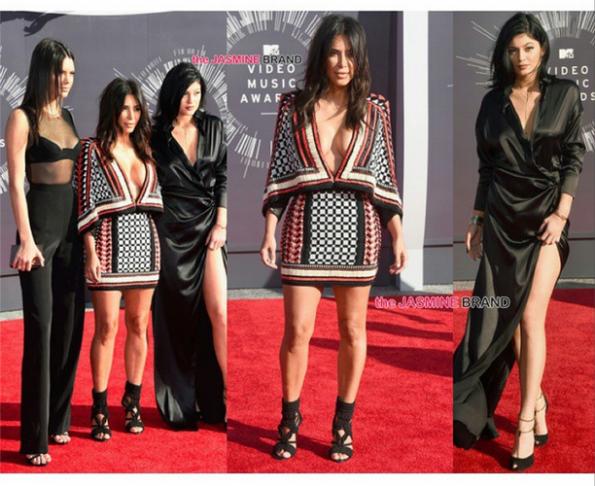 KendallJenner, #KimKardashian (wearing #Balmain), #KylieJenner (Alexandre Vauthier dress and Gucci heels)
