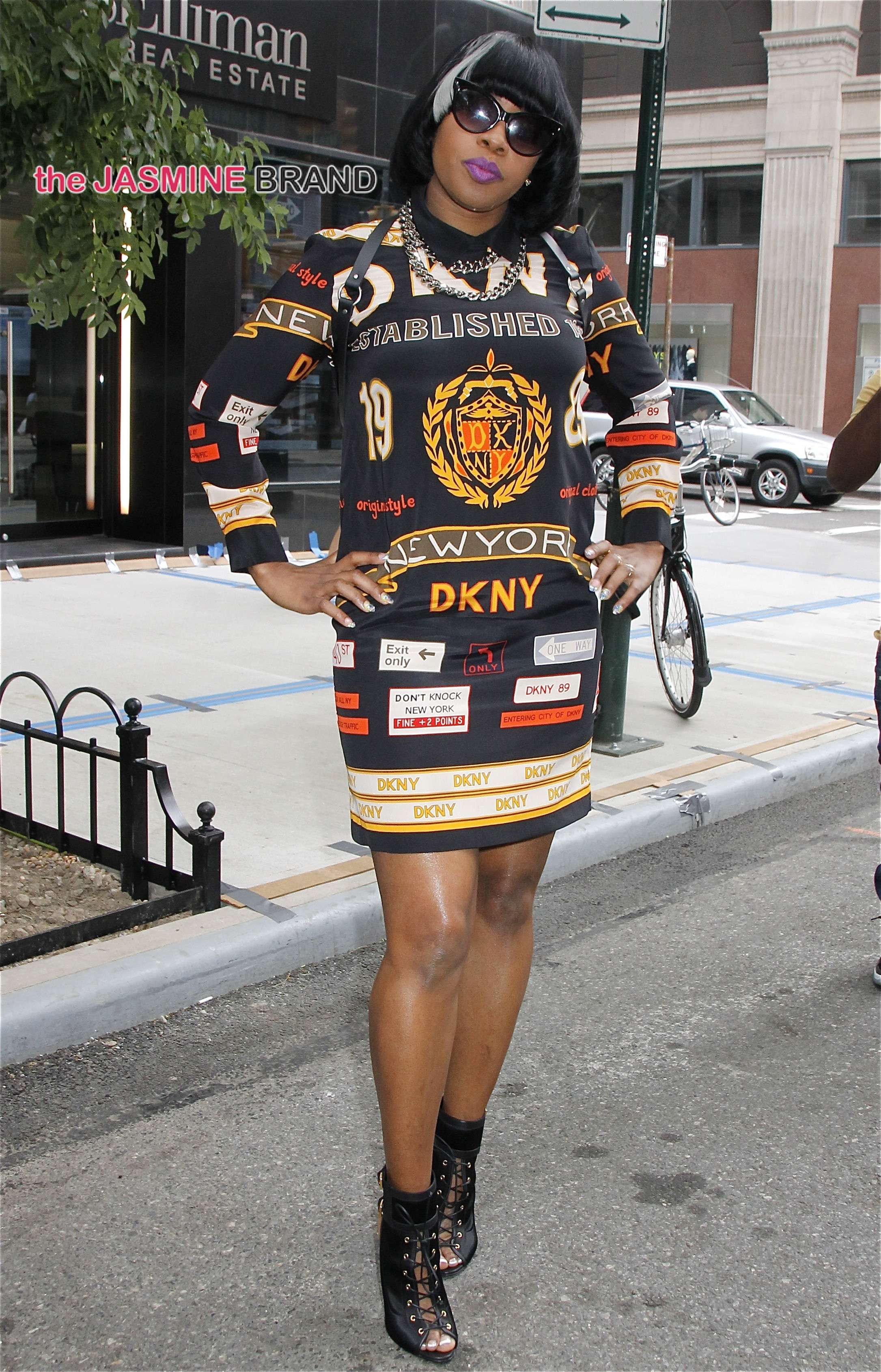 Wearing a DKNY dress and a short bob hairdo, rapper Remy Ma spotted in NYC's East Village