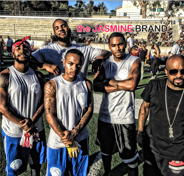 bow wow-omarion-trey songz-chris brown-quincy-flag football charity game 2014-the jasmine brand